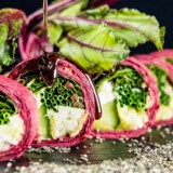Beetroot & Chia Wrap With Feta, Mint Guacamole, Cucumber and Pomegranate Molasses