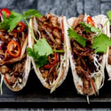 BBQ Pulled Pork, Apple Slaw Tacos